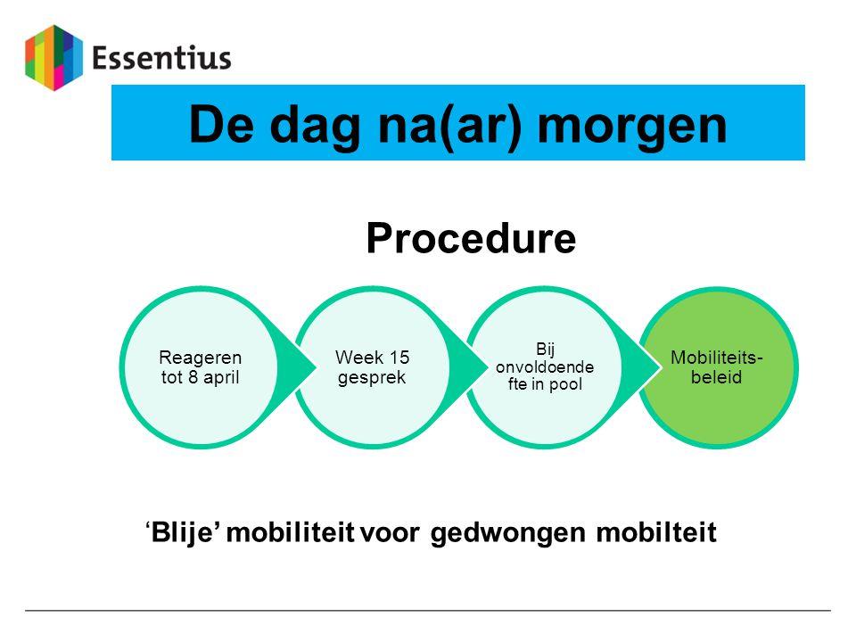 De dag na(ar) morgen Mobiliteits- beleid Bij onvoldoende fte in pool Week 15 gesprek Reageren tot 8 april Procedure 'Blije' mobiliteit voor gedwongen