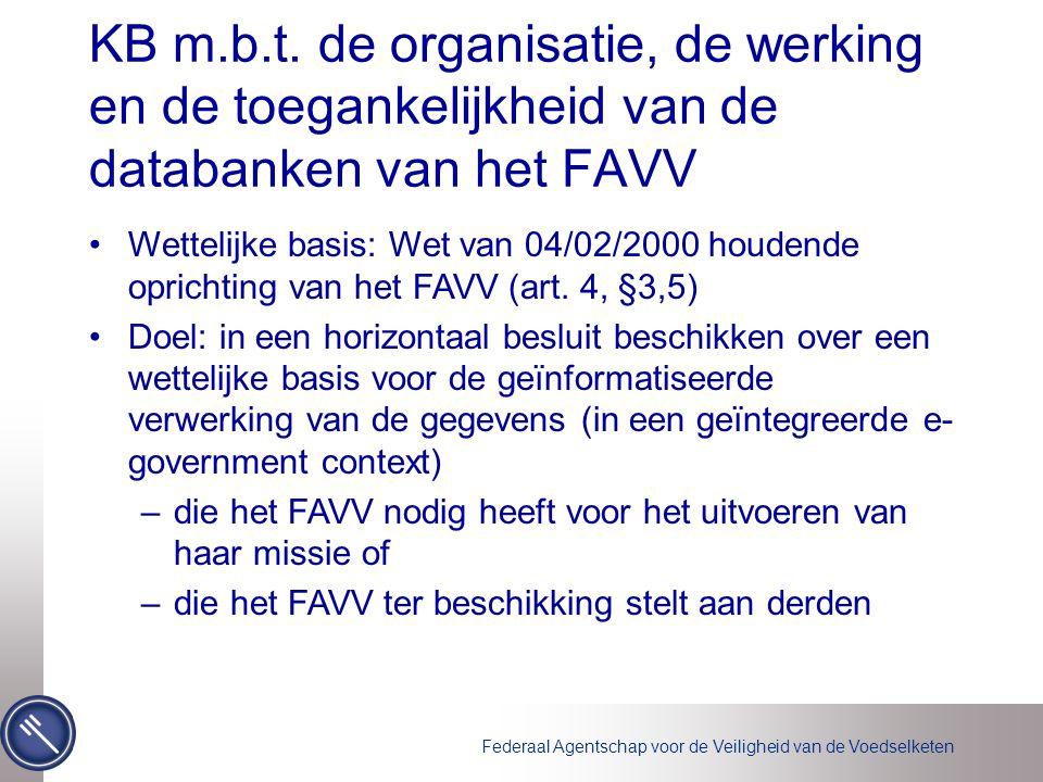 Federaal Agentschap voor de Veiligheid van de Voedselketen KB m.b.t.