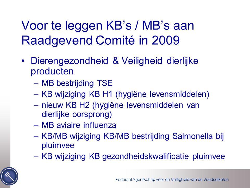 Voor te leggen KB's / MB's aan Raadgevend Comité in 2009 Dierengezondheid & Veiligheid dierlijke producten –MB bestrijding TSE –KB wijziging KB H1 (hygiëne levensmiddelen) –nieuw KB H2 (hygiëne levensmiddelen van dierlijke oorsprong) –MB aviaire influenza –KB/MB wijziging KB/MB bestrijding Salmonella bij pluimvee –KB wijziging KB gezondheidskwalificatie pluimvee