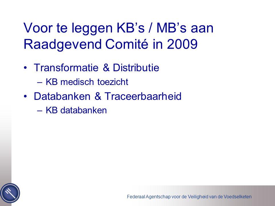 Federaal Agentschap voor de Veiligheid van de Voedselketen Voor te leggen KB's / MB's aan Raadgevend Comité in 2009 Transformatie & Distributie –KB medisch toezicht Databanken & Traceerbaarheid –KB databanken