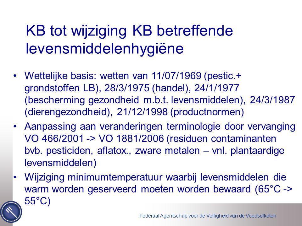Federaal Agentschap voor de Veiligheid van de Voedselketen KB tot wijziging KB betreffende levensmiddelenhygiëne Wettelijke basis: wetten van 11/07/1969 (pestic.+ grondstoffen LB), 28/3/1975 (handel), 24/1/1977 (bescherming gezondheid m.b.t.