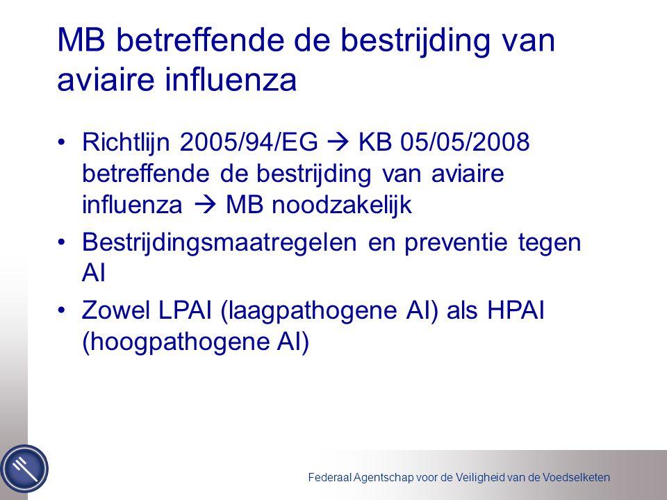 Federaal Agentschap voor de Veiligheid van de Voedselketen MB betreffende de bestrijding van aviaire influenza Richtlijn 2005/94/EG  KB 05/05/2008 betreffende de bestrijding van aviaire influenza  MB noodzakelijk Bestrijdingsmaatregelen en preventie tegen AI Zowel LPAI (laagpathogene AI) als HPAI (hoogpathogene AI)