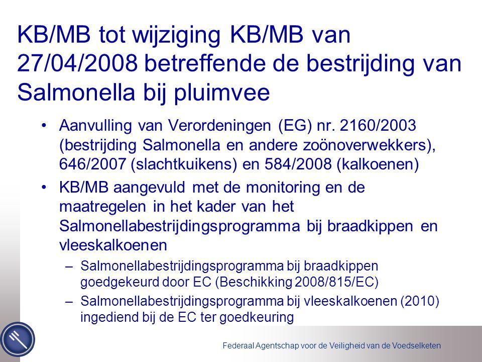 Federaal Agentschap voor de Veiligheid van de Voedselketen KB/MB tot wijziging KB/MB van 27/04/2008 betreffende de bestrijding van Salmonella bij pluimvee Aanvulling van Verordeningen (EG) nr.