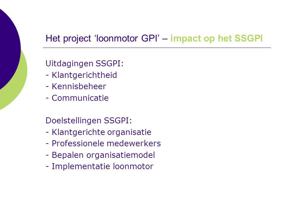 Het project 'loonmotor GPI' – impact op het SSGPI Uitdagingen SSGPI: - Klantgerichtheid - Kennisbeheer - Communicatie Doelstellingen SSGPI: - Klantger