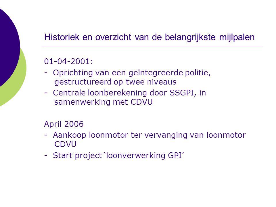 Historiek en overzicht van de belangrijkste mijlpalen 01-04-2001: - Oprichting van een geïntegreerde politie, gestructureerd op twee niveaus - Central