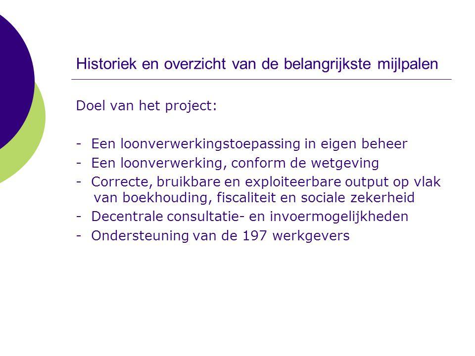 Historiek en overzicht van de belangrijkste mijlpalen Doel van het project: - Een loonverwerkingstoepassing in eigen beheer - Een loonverwerking, conf