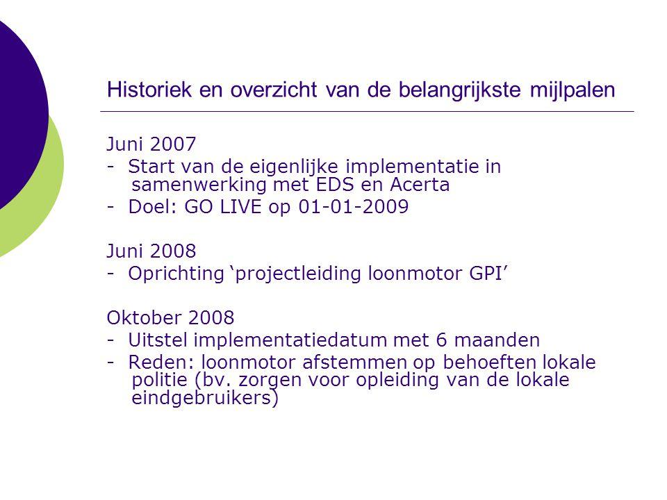 Historiek en overzicht van de belangrijkste mijlpalen Juni 2007 - Start van de eigenlijke implementatie in samenwerking met EDS en Acerta - Doel: GO L