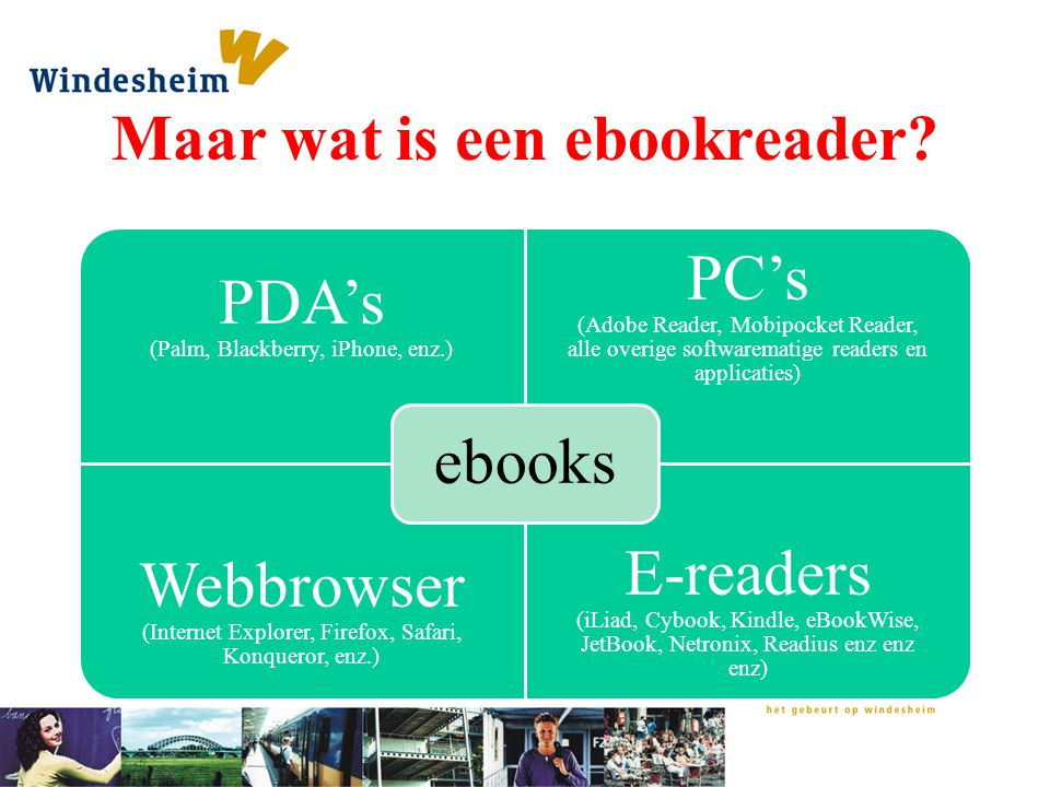 Maar wat is een ebookreader? PDA's (Palm, Blackberry, iPhone, enz.) PC's (Adobe Reader, Mobipocket Reader, alle overige softwarematige readers en appl