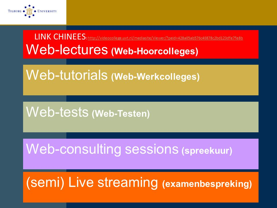 Web-lectures (Web-Hoorcolleges) Web-tutorials (Web-Werkcolleges) Web-consulting sessions (spreekuur) (semi) Live streaming (examenbespreking) LINK CHI