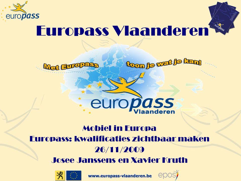 Europass Vlaanderen Mobiel in Europa Europass: kwalificaties zichtbaar maken 26/11/2009 Josee Janssens en Xavier Kruth