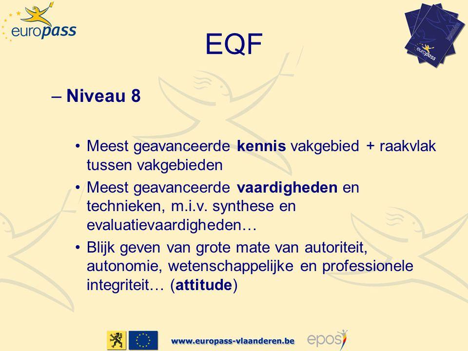 EQF –Niveau 8 Meest geavanceerde kennis vakgebied + raakvlak tussen vakgebieden Meest geavanceerde vaardigheden en technieken, m.i.v. synthese en eval