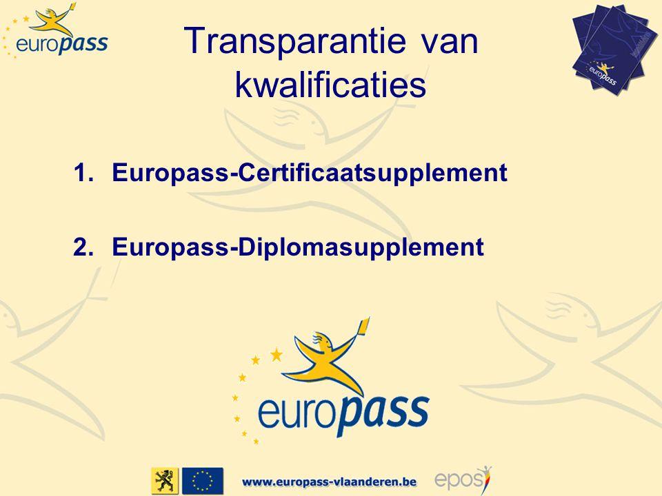 Transparantie van kwalificaties Europass-Certificaatsupplement –Bijlage bij certificaat van beroepsonderwijs of beroepsopleiding Europass-Diplomasupplement –Bijlage bij diploma hoger onderwijs De supplementen vervangen het oorspronkelijke diploma of certificaat niet, maar helpen om de inhoud ervan te verduidelijken