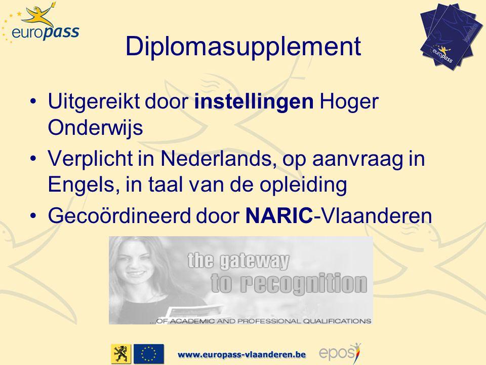 Diplomasupplement Uitgereikt door instellingen Hoger Onderwijs Verplicht in Nederlands, op aanvraag in Engels, in taal van de opleiding Gecoördineerd door NARIC-Vlaanderen