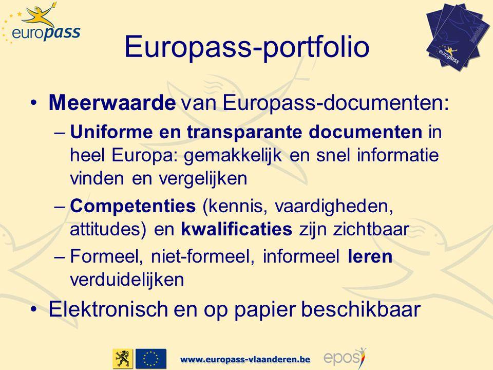 Europass-portfolio Meerwaarde van Europass-documenten: –Uniforme en transparante documenten in heel Europa: gemakkelijk en snel informatie vinden en vergelijken –Competenties (kennis, vaardigheden, attitudes) en kwalificaties zijn zichtbaar –Formeel, niet-formeel, informeel leren verduidelijken Elektronisch en op papier beschikbaar