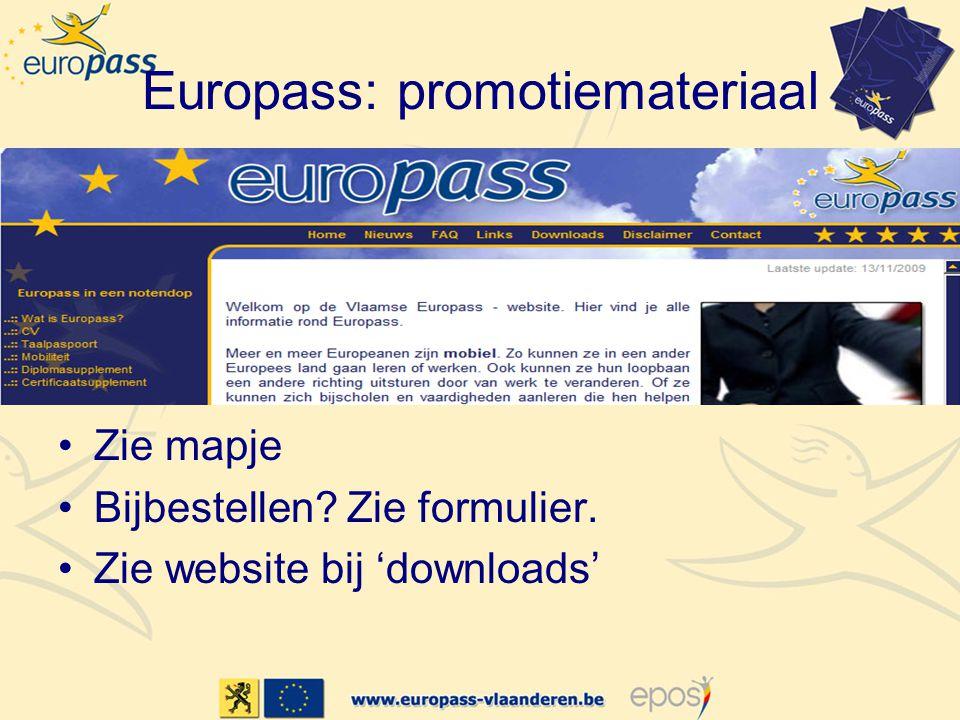 Europass: promotiemateriaal Zie mapje Bijbestellen? Zie formulier. Zie website bij 'downloads'