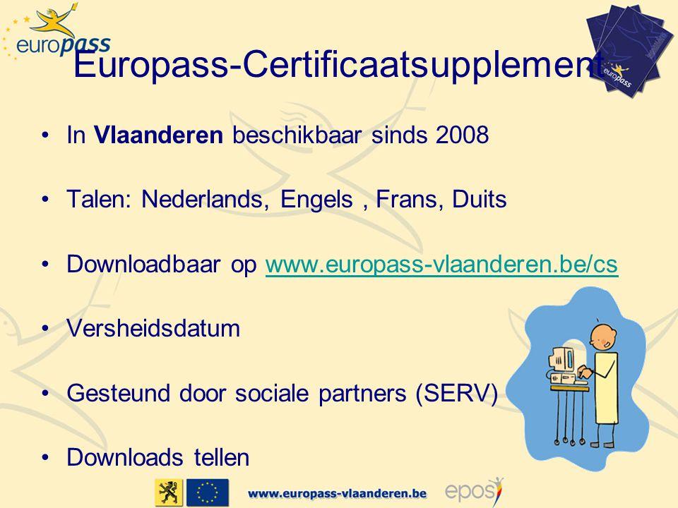 Europass-Certificaatsupplement In Vlaanderen beschikbaar sinds 2008 Talen: Nederlands, Engels, Frans, Duits Downloadbaar op www.europass-vlaanderen.be