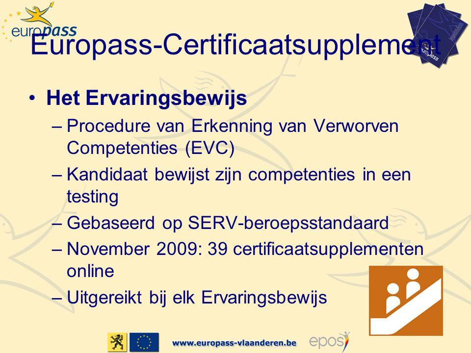 Europass-Certificaatsupplement Het Ervaringsbewijs –Procedure van Erkenning van Verworven Competenties (EVC) –Kandidaat bewijst zijn competenties in een testing –Gebaseerd op SERV-beroepsstandaard –November 2009: 39 certificaatsupplementen online –Uitgereikt bij elk Ervaringsbewijs