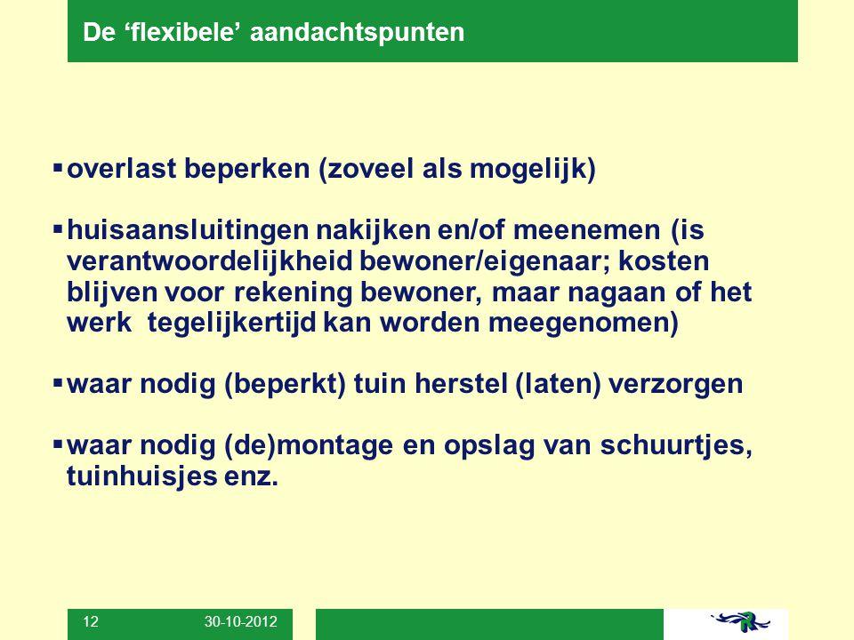 30-10-2012 12 De 'flexibele' aandachtspunten  overlast beperken (zoveel als mogelijk)  huisaansluitingen nakijken en/of meenemen (is verantwoordelij