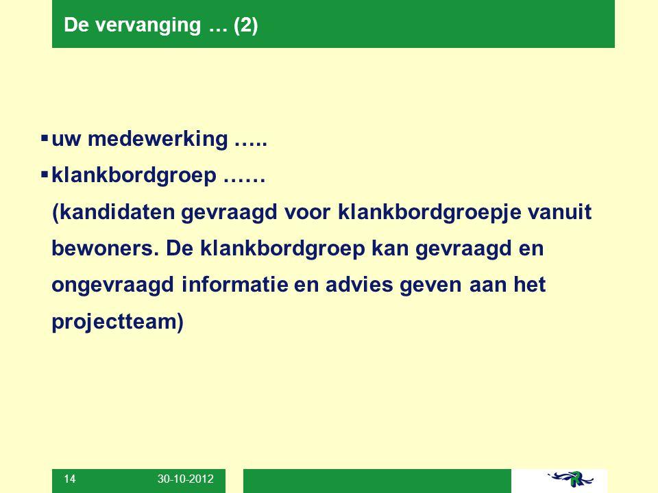 30-10-2012 14 De vervanging … (2)  uw medewerking …..  klankbordgroep …… (kandidaten gevraagd voor klankbordgroepje vanuit bewoners. De klankbordgro