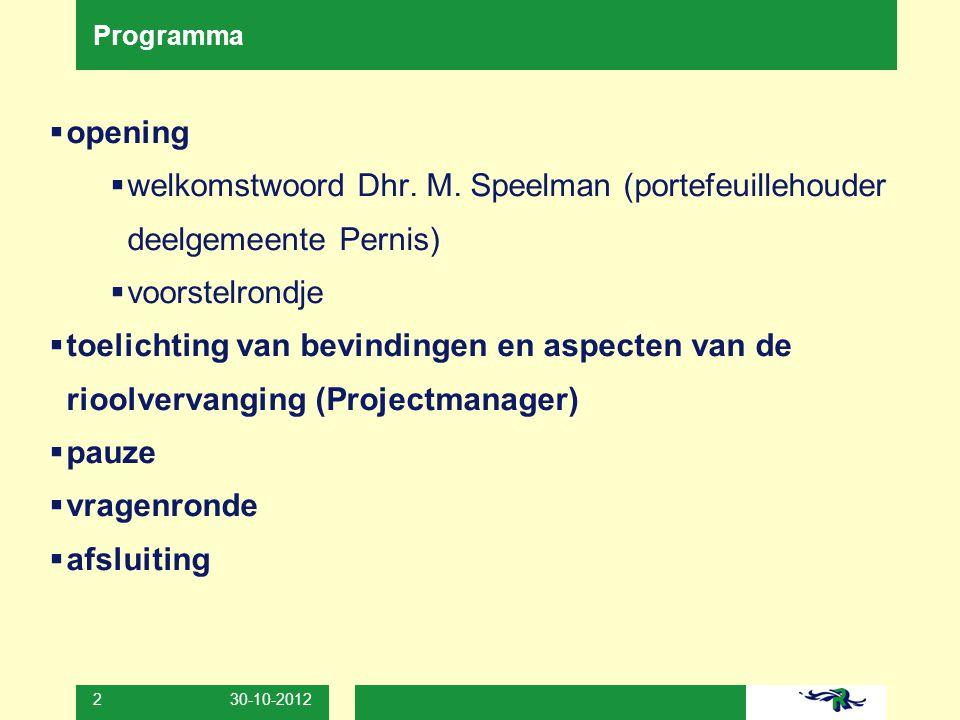 30-10-2012 3 Samenwerkende partijen  Deelgemeente Pernis  Bewoners, ondernemers Pastoriedijk  Gemeente Rotterdam  verder de afdelingen: Watermanagement (GW), Ingenieursbureau (GW), De Werf Hoogvliet-Pernis, Communicatie (Sdr), Projectmanagement (SO)