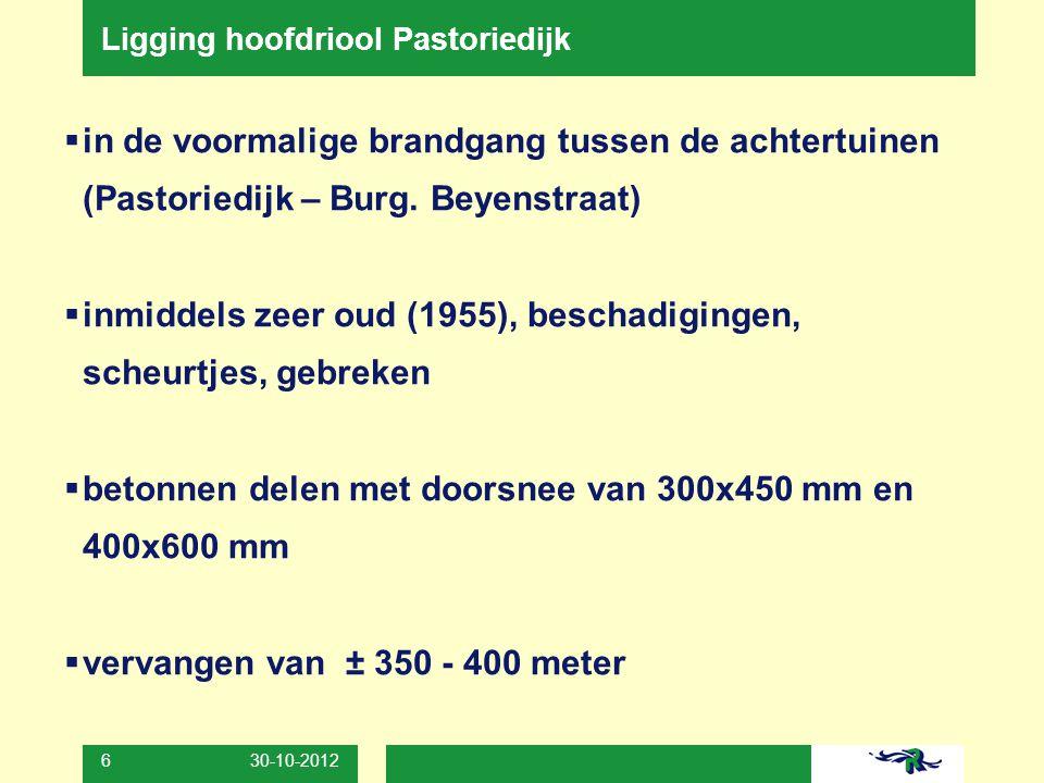 30-10-2012 6 Ligging hoofdriool Pastoriedijk  in de voormalige brandgang tussen de achtertuinen (Pastoriedijk – Burg. Beyenstraat)  inmiddels zeer o