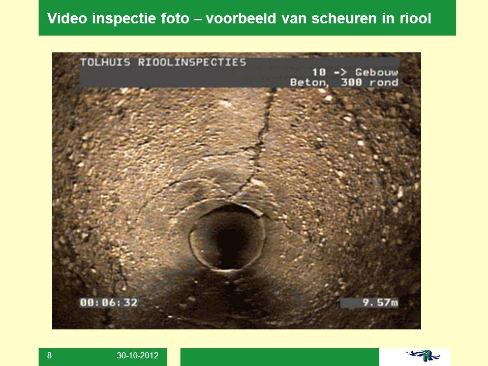30-10-2012 9 Mogelijke gevolgen bij verzakking of instorting riool verzakking tegels of grasveldscheuren aan schuurtjes en tuinhuisjes toename van ongedierte
