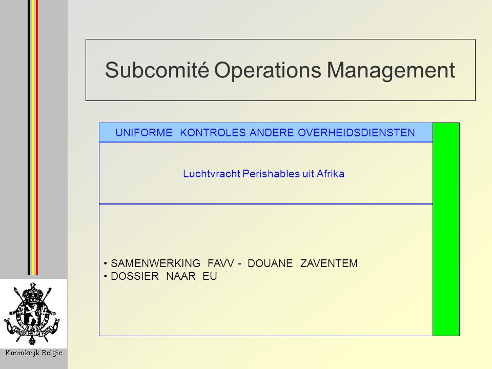 Subcomité Operations Management Luchtvracht Perishables uit Afrika UNIFORME KONTROLES ANDERE OVERHEIDSDIENSTEN SAMENWERKING FAVV - DOUANE ZAVENTEM DOSSIER NAAR EU