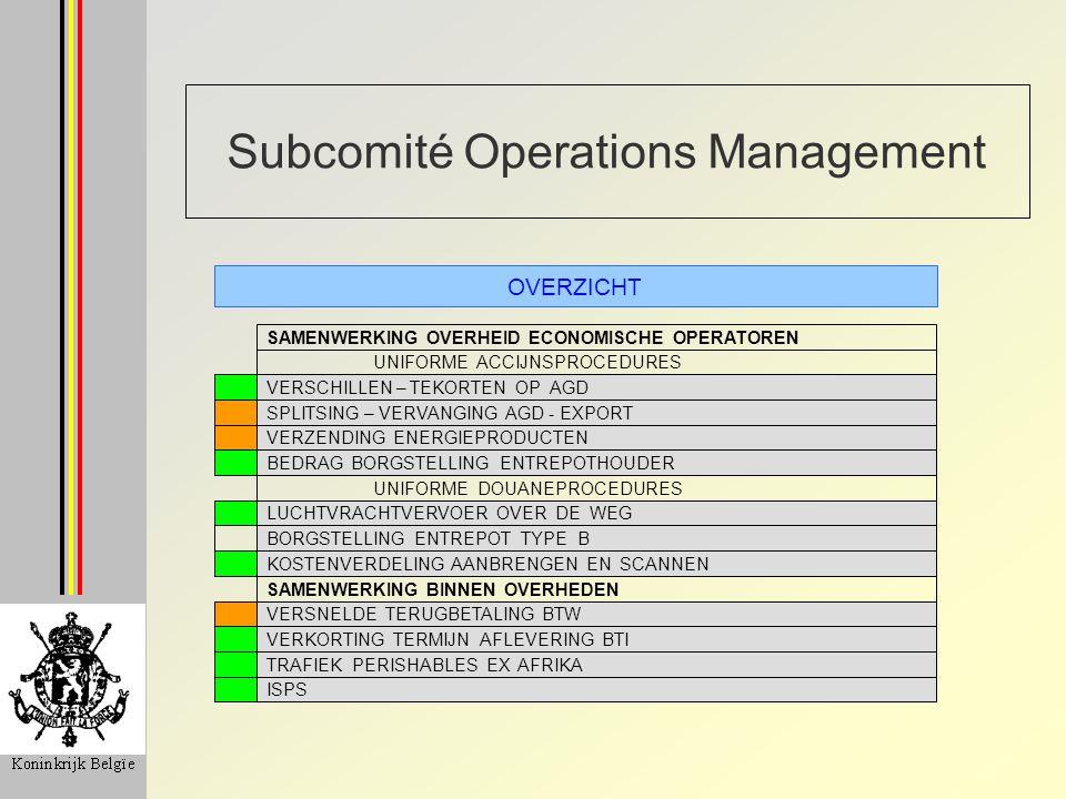 Subcomité Operations Management OVERZICHT SAMENWERKING OVERHEID ECONOMISCHE OPERATOREN UNIFORME ACCIJNSPROCEDURES VERSCHILLEN – TEKORTEN OP AGD SPLITSING – VERVANGING AGD - EXPORT VERZENDING ENERGIEPRODUCTEN BEDRAG BORGSTELLING ENTREPOTHOUDER UNIFORME DOUANEPROCEDURES LUCHTVRACHTVERVOER OVER DE WEG BORGSTELLING ENTREPOT TYPE B KOSTENVERDELING AANBRENGEN EN SCANNEN SAMENWERKING BINNEN OVERHEDEN VERSNELDE TERUGBETALING BTW VERKORTING TERMIJN AFLEVERING BTI TRAFIEK PERISHABLES EX AFRIKA ISPS