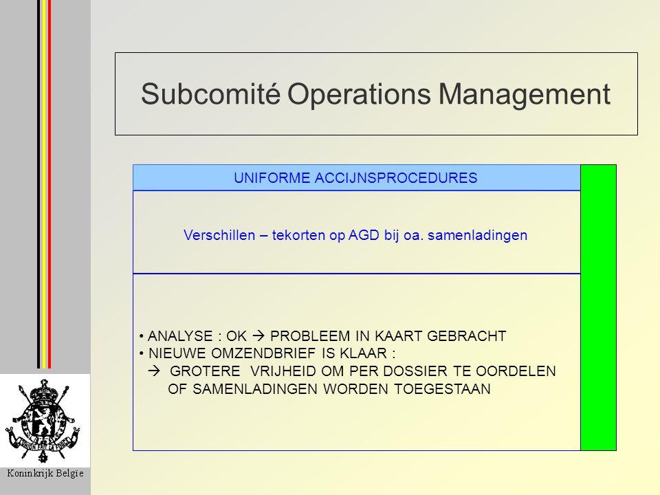 Subcomité Operations Management Verschillen – tekorten op AGD bij oa.