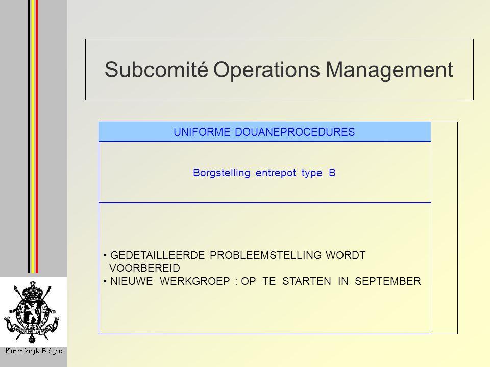 Subcomité Operations Management Kostenverdeling aanbrengen en scannen van containers / goederen SCANNING ANALYSE OK KOSTEN IN KAART GEBRACHT BIJ DE PLANNING VAN HET SCANNEN (MOBIEL/VAST) WORDT MET DEZE GEKENDE KOSTEN REKENING GEHOUDEN