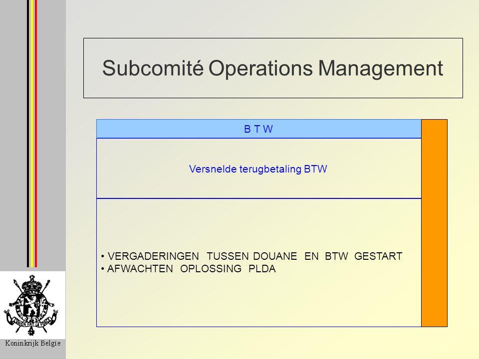 Subcomité Operations Management Versnelde terugbetaling BTW B T W VERGADERINGEN TUSSEN DOUANE EN BTW GESTART AFWACHTEN OPLOSSING PLDA