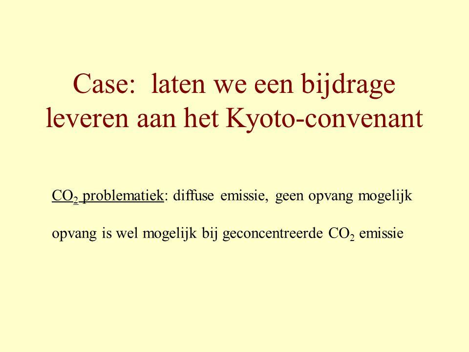 Case: laten we een bijdrage leveren aan het Kyoto-convenant CO 2 problematiek: diffuse emissie, geen opvang mogelijk opvang is wel mogelijk bij geconc