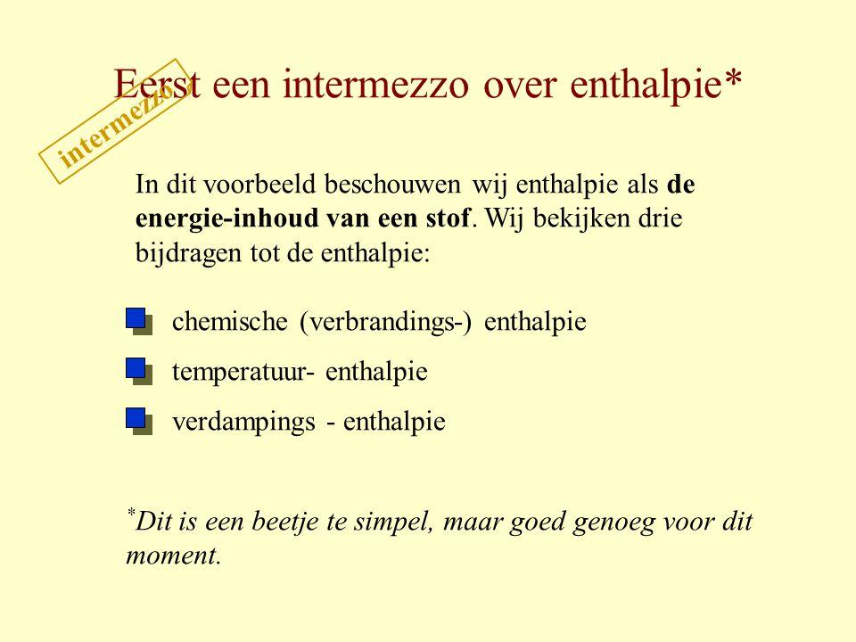 Eerst een intermezzo over enthalpie* In dit voorbeeld beschouwen wij enthalpie als de energie-inhoud van een stof. Wij bekijken drie bijdragen tot de
