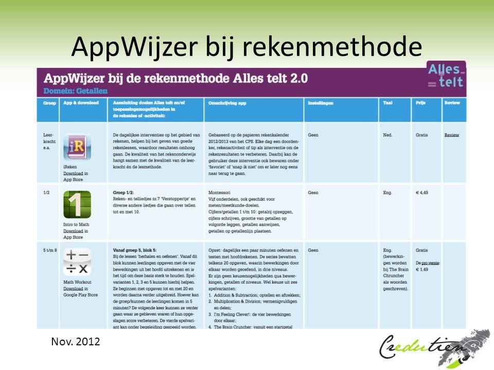 AppWijzer bij rekenmethode Nov. 2012