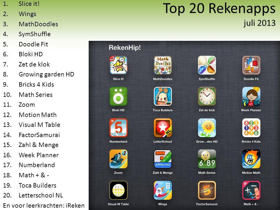 Top 20 Rekenapps juli 2013 1.Slice it! 2.Wings 3.MathDoodles 4.SymShuffle 5.Doodle Fit 6.Bloki HD 7.Zet de klok 8.Growing garden HD 9.Bricks 4 Kids 10