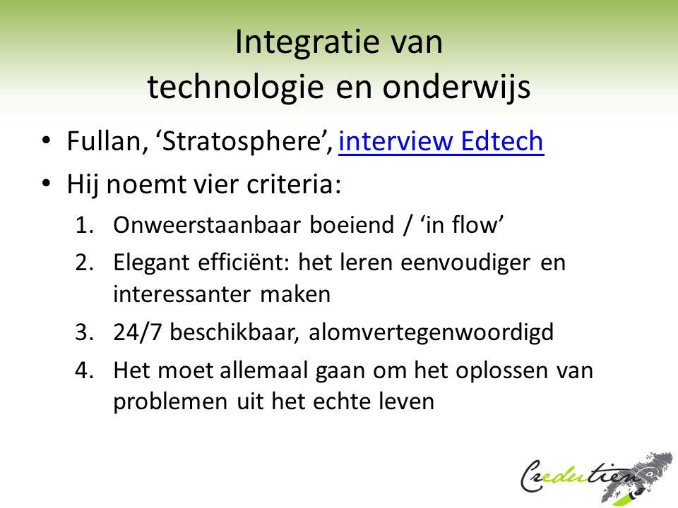 Integratie van technologie en onderwijs Fullan, 'Stratosphere', interview Edtechinterview Edtech Hij noemt vier criteria: 1.Onweerstaanbaar boeiend /
