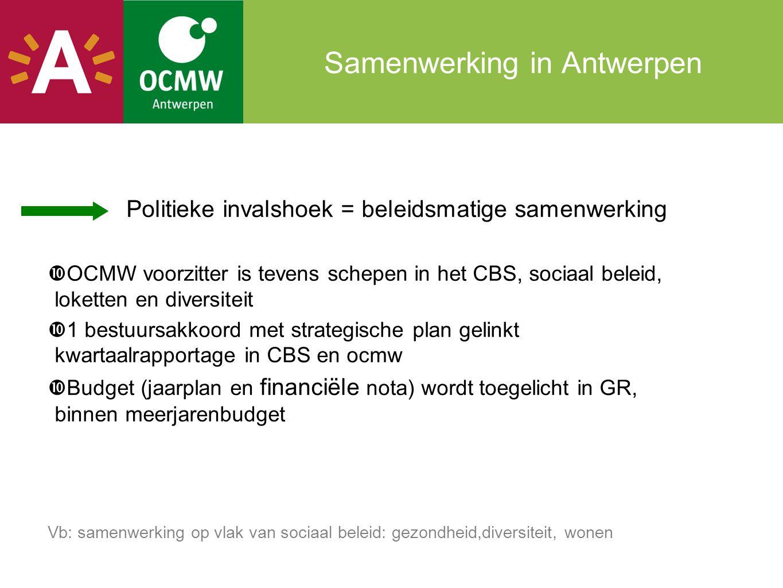 Samenwerking in Antwerpen Politieke invalshoek = beleidsmatige samenwerking  OCMW voorzitter is tevens schepen in het CBS, sociaal beleid, loketten e