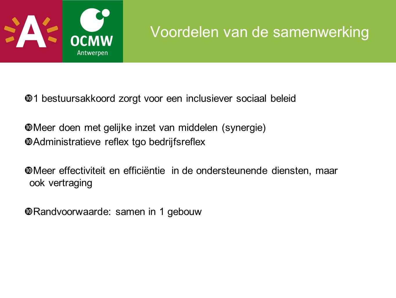 Voordelen van de samenwerking  1 bestuursakkoord zorgt voor een inclusiever sociaal beleid  Meer doen met gelijke inzet van middelen (synergie)  Ad