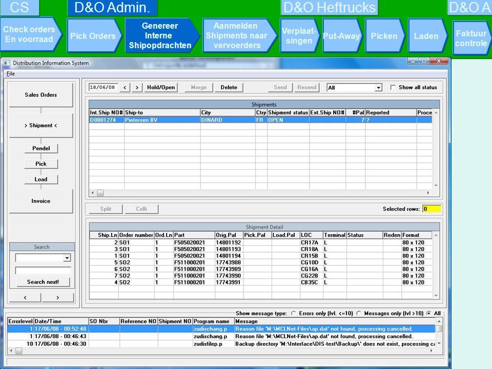 D&O Admin. Pick Orders Genereer Interne Shipopdrachten Aanmelden Shipments naar vervoerders PickenLaden D&O Heftrucks Faktuur controle Check orders En