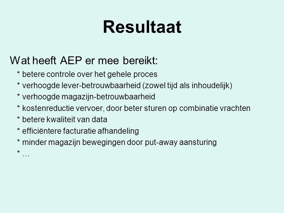 Resultaat Wat heeft AEP er mee bereikt: * betere controle over het gehele proces * verhoogde lever-betrouwbaarheid (zowel tijd als inhoudelijk) * verh