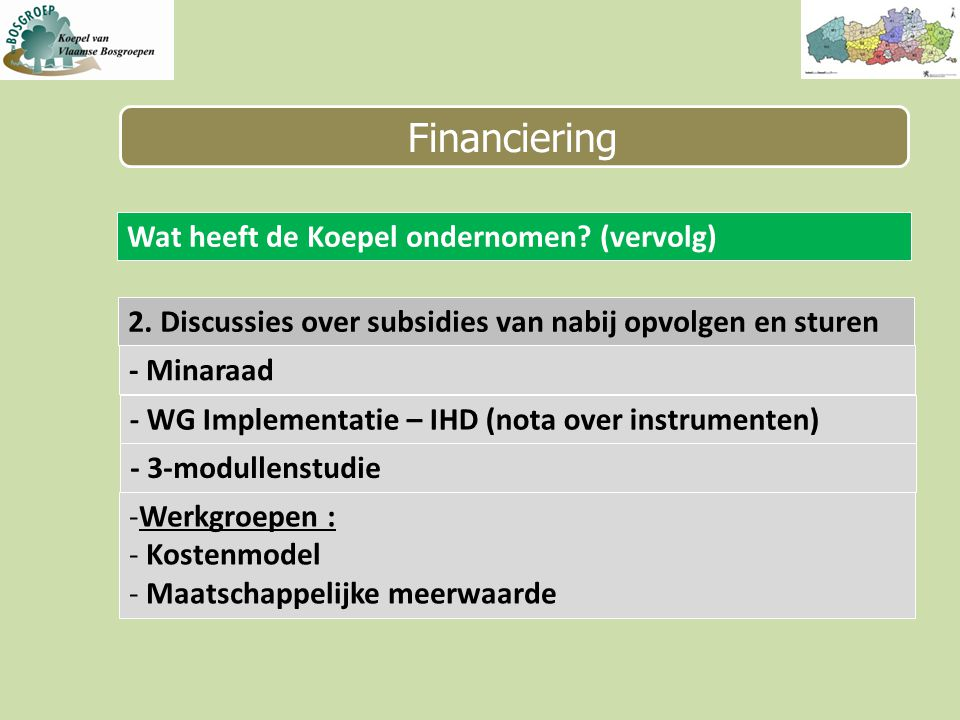 Financiering Wat heeft de Koepel ondernomen. (vervolg) 2.