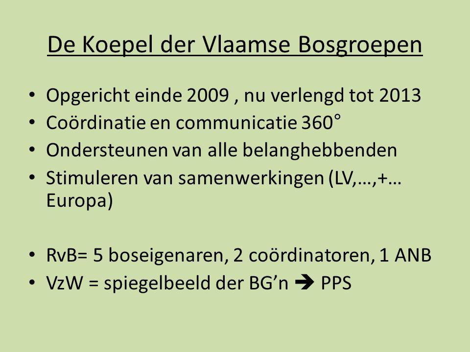 De Koepel der Vlaamse Bosgroepen Opgericht einde 2009, nu verlengd tot 2013 Coördinatie en communicatie 360° Ondersteunen van alle belanghebbenden Stimuleren van samenwerkingen (LV,…,+… Europa) RvB= 5 boseigenaren, 2 coördinatoren, 1 ANB VzW = spiegelbeeld der BG'n  PPS