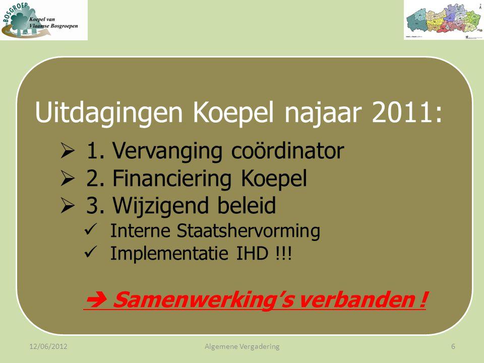 12/06/2012Algemene Vergadering6 Uitdagingen Koepel najaar 2011:  1.