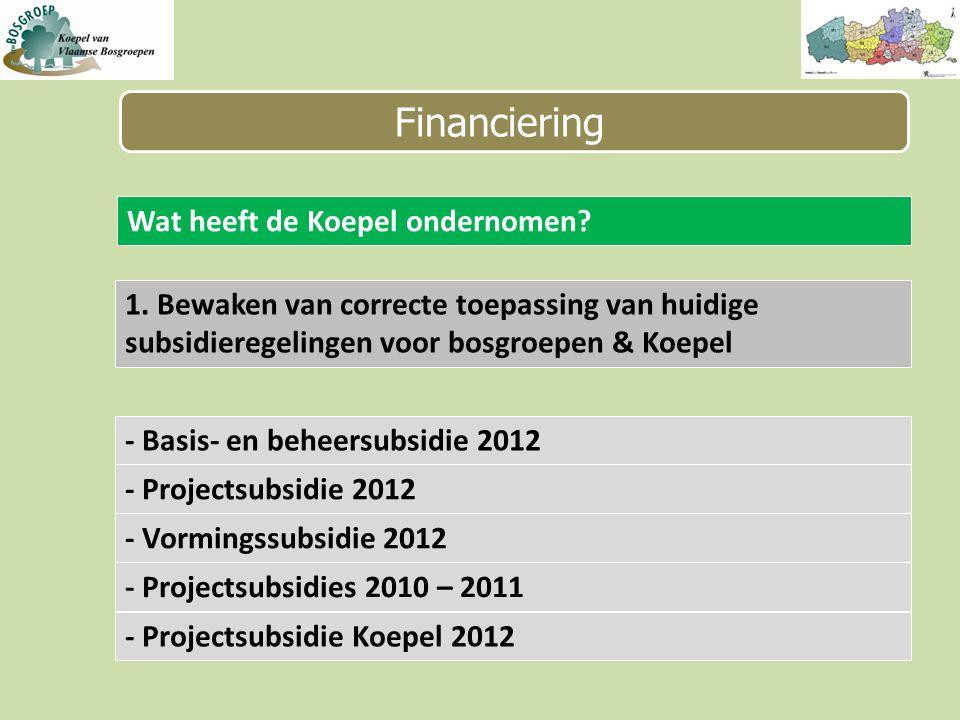 Financiering Wat heeft de Koepel ondernomen.