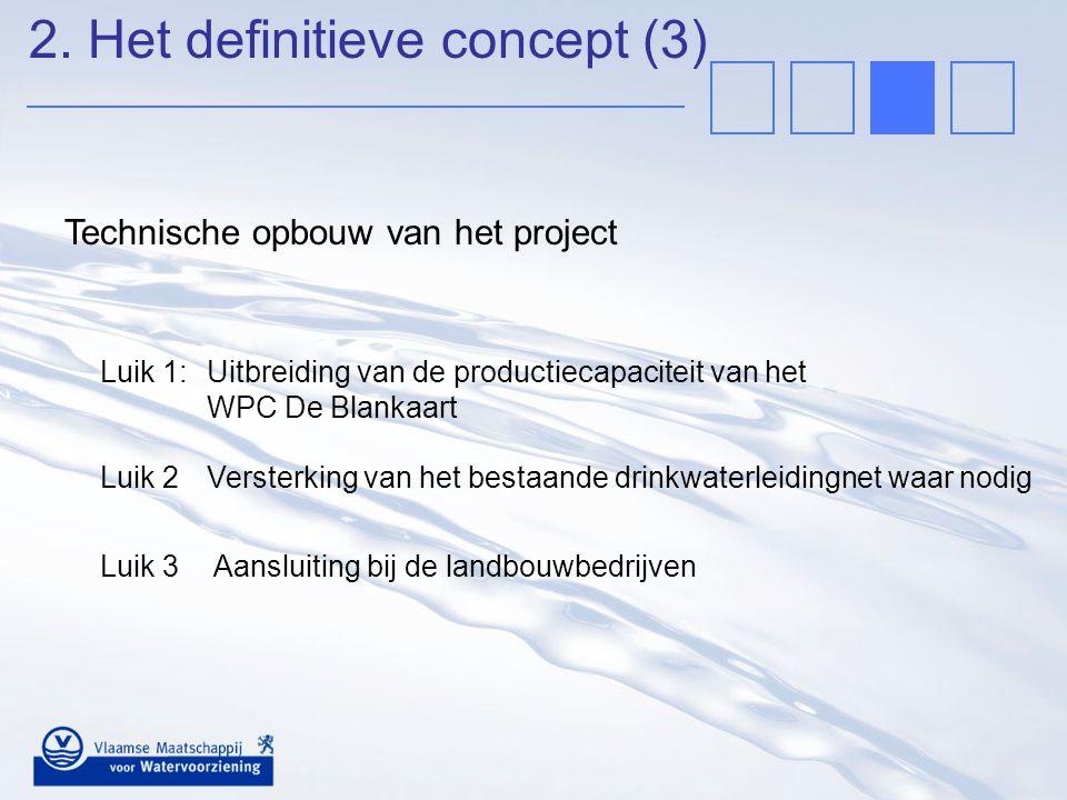 Luik 1:Uitbreiding van de productiecapaciteit van het WPC De Blankaart Technische opbouw van het project Luik 2Versterking van het bestaande drinkwate