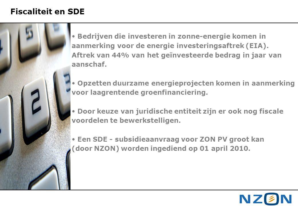 Fiscaliteit en SDE Bedrijven die investeren in zonne-energie komen in aanmerking voor de energie investeringsaftrek (EIA). Aftrek van 44% van het geïn