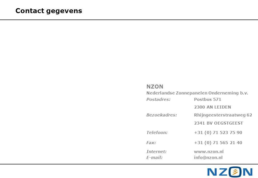 Contact gegevens NZON Nederlandse Zonnepanelen Onderneming b.v. Postadres: Postbus 571 2300 AN LEIDEN Bezoekadres:Rhijngeesterstraatweg 62 2341 BV OEG