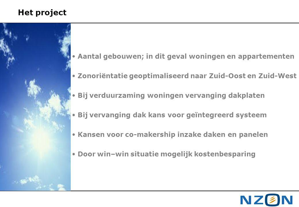 Het project Aantal gebouwen; in dit geval woningen en appartementen Zonoriëntatie geoptimaliseerd naar Zuid-Oost en Zuid-West Bij verduurzaming woning