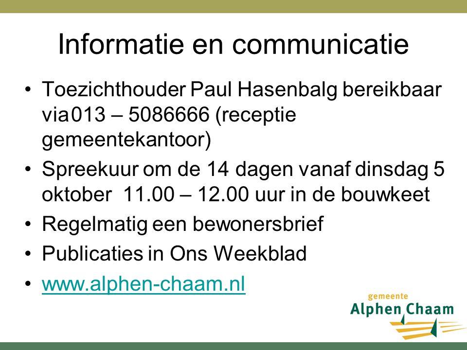 Informatie en communicatie Toezichthouder Paul Hasenbalg bereikbaar via013 – 5086666 (receptie gemeentekantoor) Spreekuur om de 14 dagen vanaf dinsdag