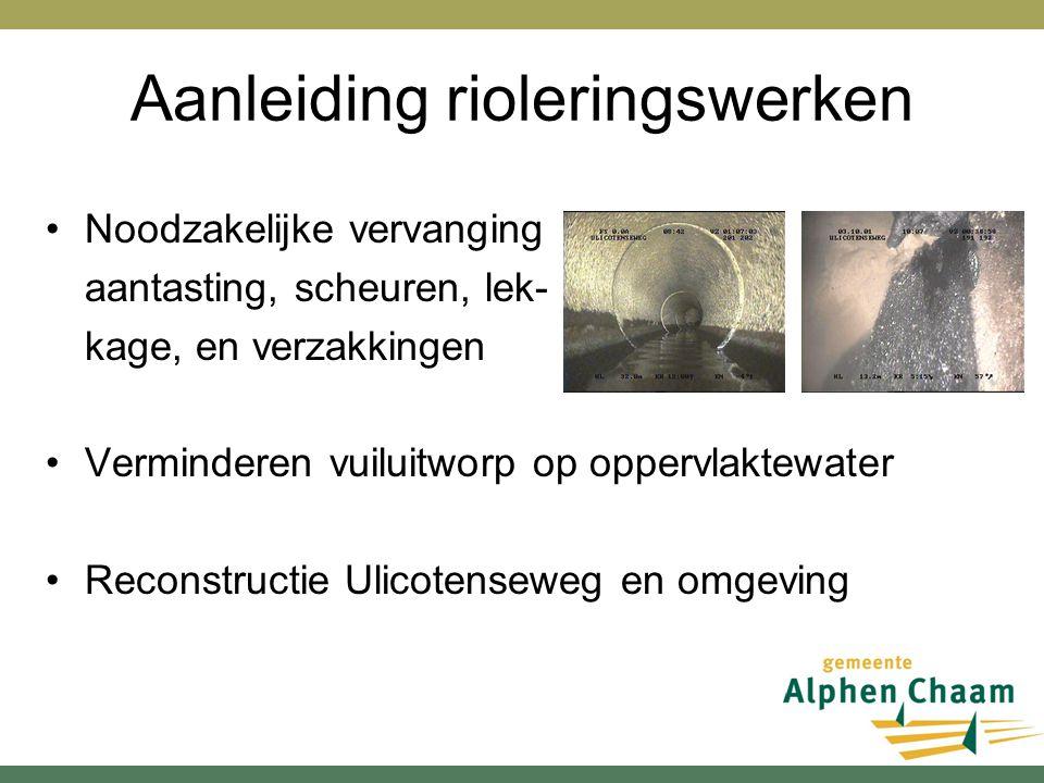 Aanleiding rioleringswerken Noodzakelijke vervanging aantasting, scheuren, lek- kage, en verzakkingen Verminderen vuiluitworp op oppervlaktewater Reco